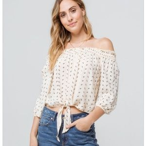 Mimi Chica Tie Front Off The Shoulder Blouse
